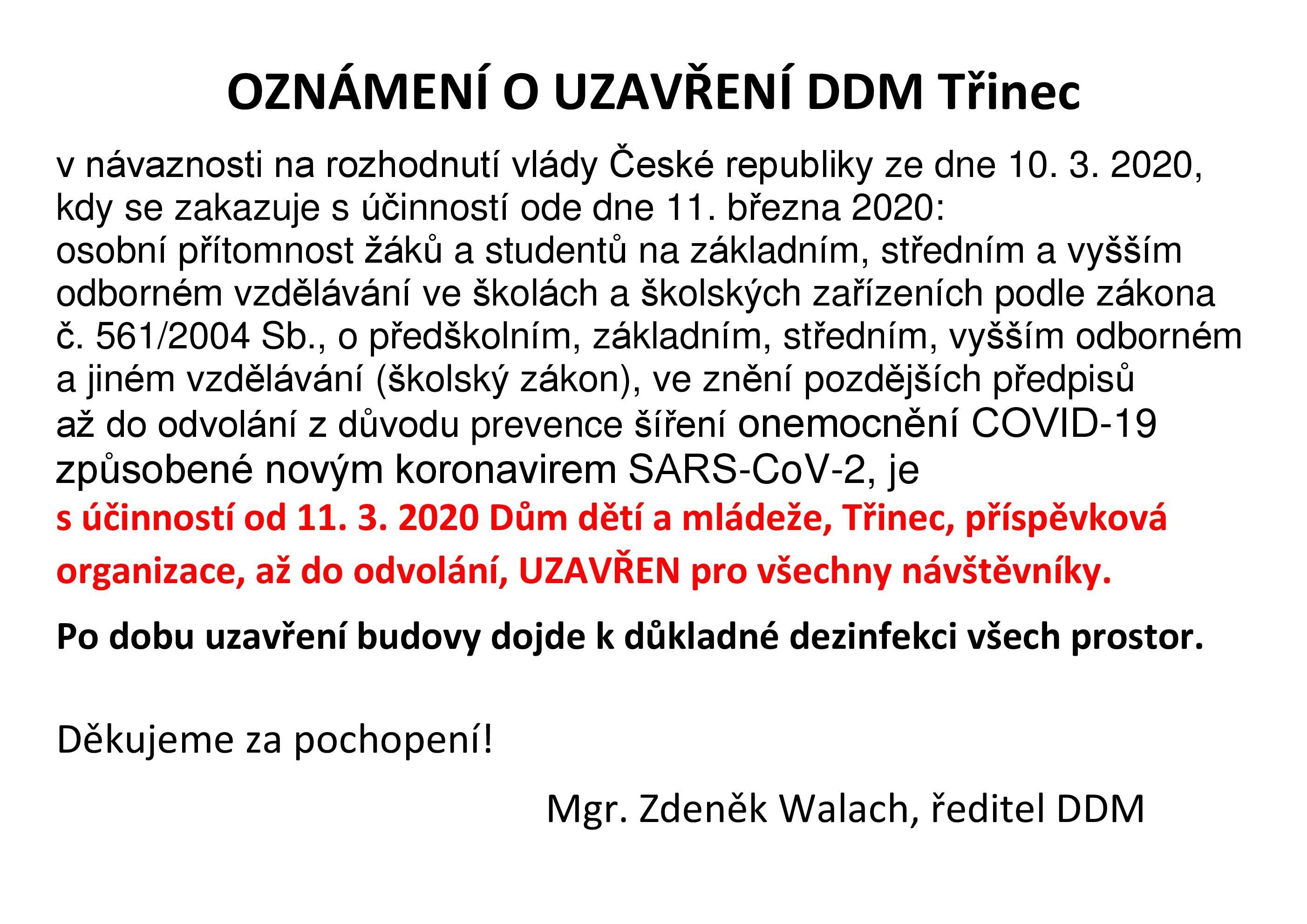 Oznámení o uzavření DDM.